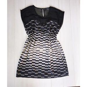 Sheer top fabric mini dress ambre pattern